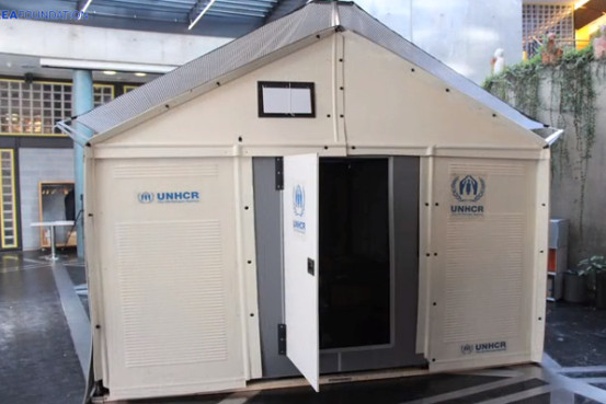 still from a video released by the IKEA Foundation, a prototype of its new refugee housing unit is shown as assembled.