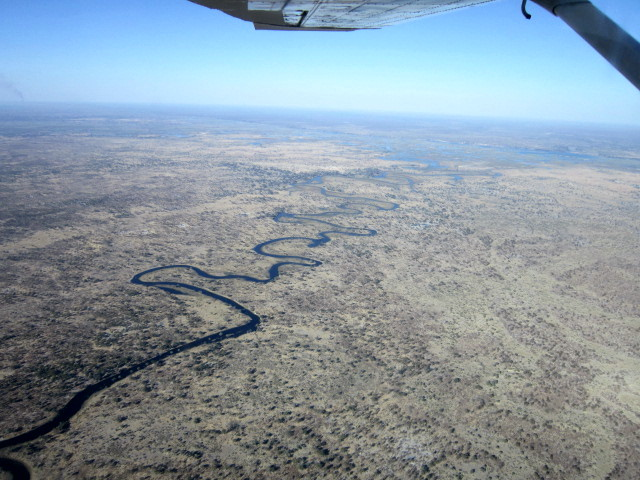 Part of the Okavanga River system from the air
