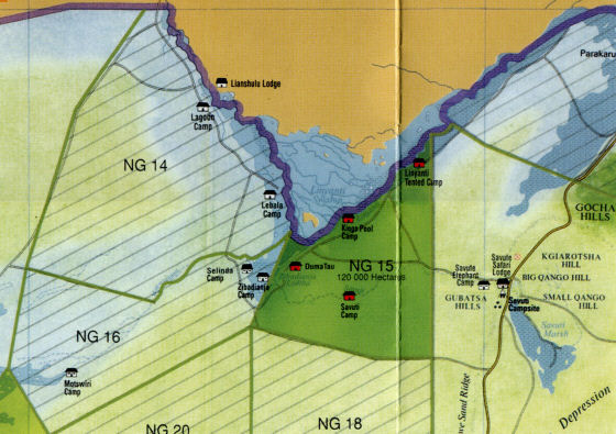 Map of the Linyanti area - Lagoon Camp is located in NG 14