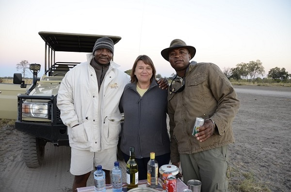 The happy trio of Rams, me and Major relaxing during Sundowner time on Safari
