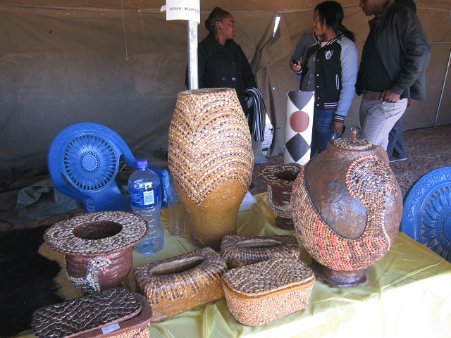 Local pottery decorated with pumpkin seeds